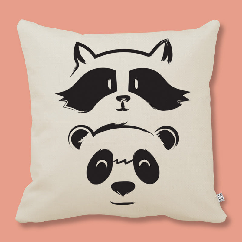 cushion with raccoon and panda print