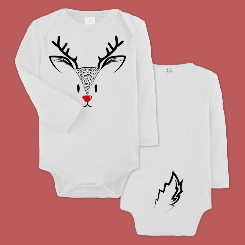baby bodysuit with a reindeer print and a printed tail in the back