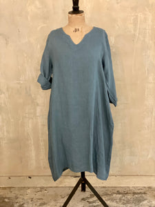 Linen Ruffle Hem Tunic Dress