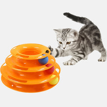 Load image into Gallery viewer, Three Levels Pet Cat Toy Training Amusement Plate Kitten Tower Tracks Disc Cat Intelligence Amusement Triple Disc tumblers