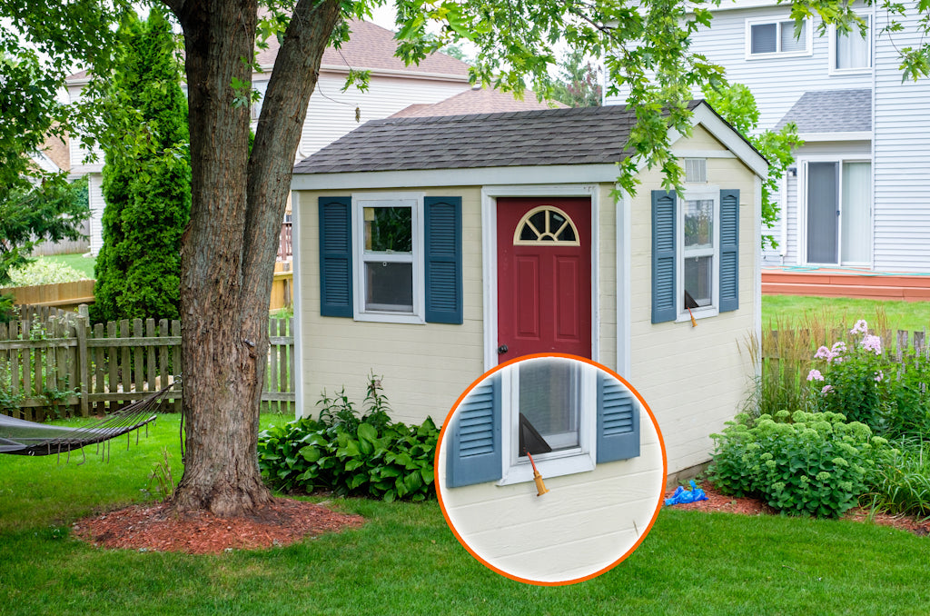 Backyard with shed and a window screen insert for power cords - ScreenLet