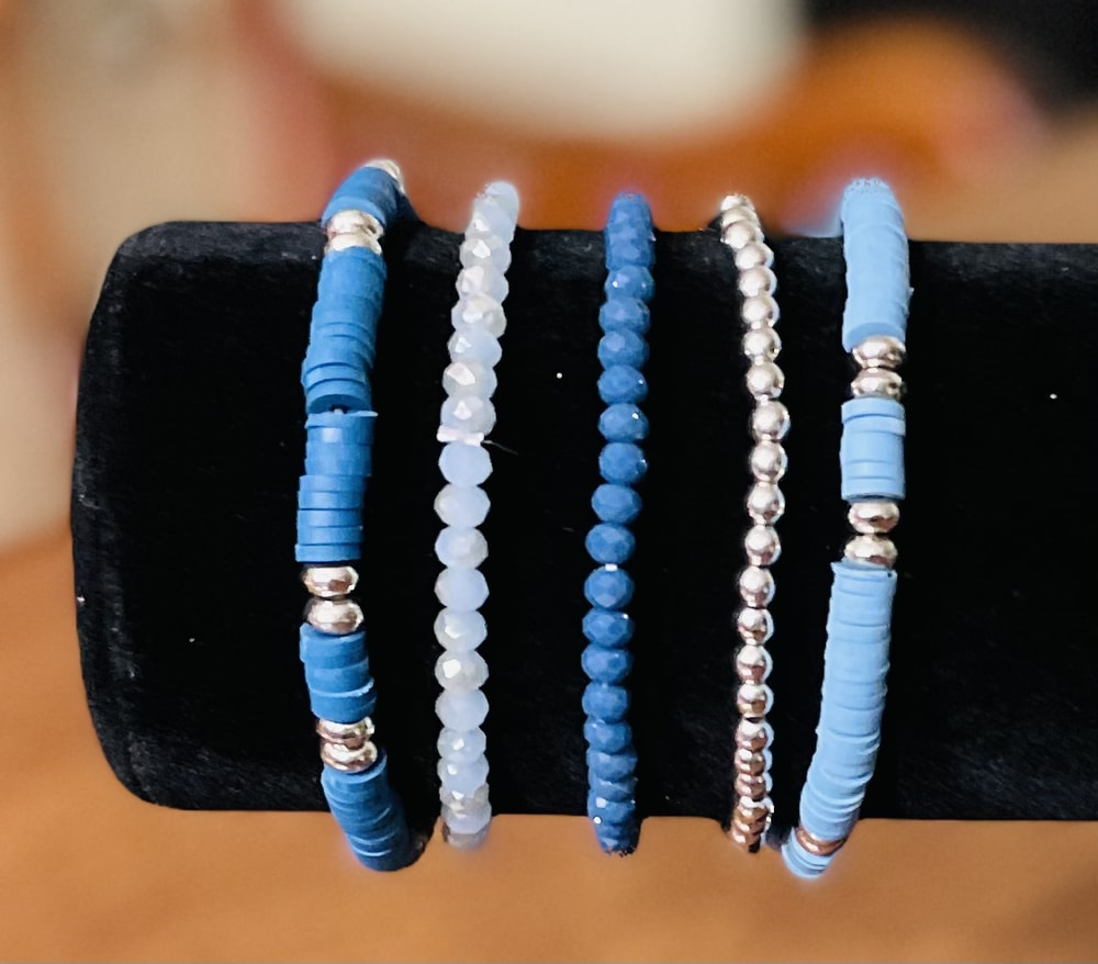 Blue Clay & Beaded Stack Bracelets
