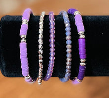 Load image into Gallery viewer, Blue Clay & Beaded Stack Bracelets