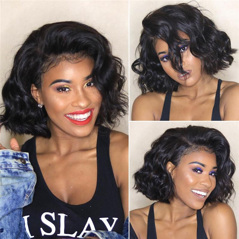 Human Hair Wigs Virgin Hair Lace Front Bob Wig Loose Wave #1B