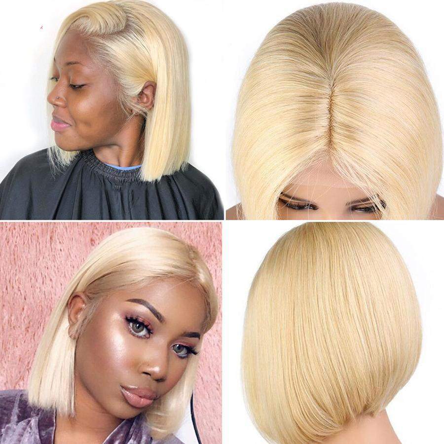 Pre-Plucked Human Hair Lace Front Bob Wig Straight (#613 Blonde)