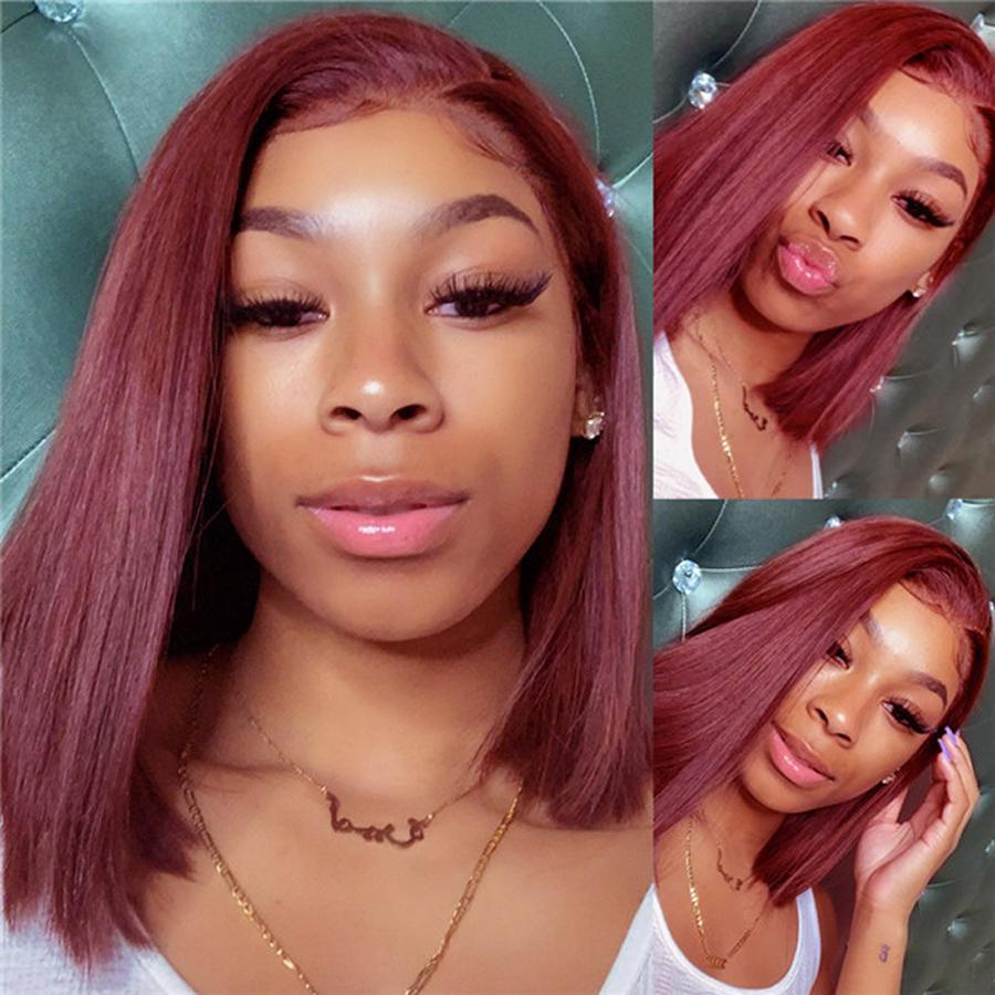 Pre-Plucked Human Hair Lace Front Bob Wig Straight (#99J Burgundy)