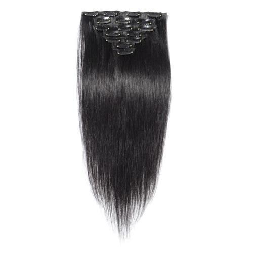 16 – 26 Inch Clip In Remy Hair Extensions Straight (#1B Natural Black)