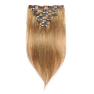 16 – 26 Inch Clip In Remy Hair Extensions Straight (#27 Strawberry Blonde)