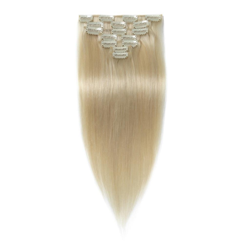 16 – 26 Inch Clip In Remy Hair Extensions Straight (#60 White Blonde)