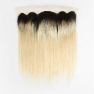 12 – 16 Inch Free Part Straight Lace Frontal #1B/#613 Blonde