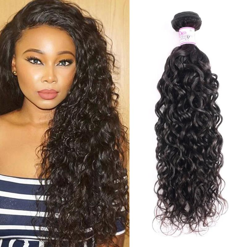 Indian Virgin Hair 100% Human Hair Water Wave (#1B Natural Black)