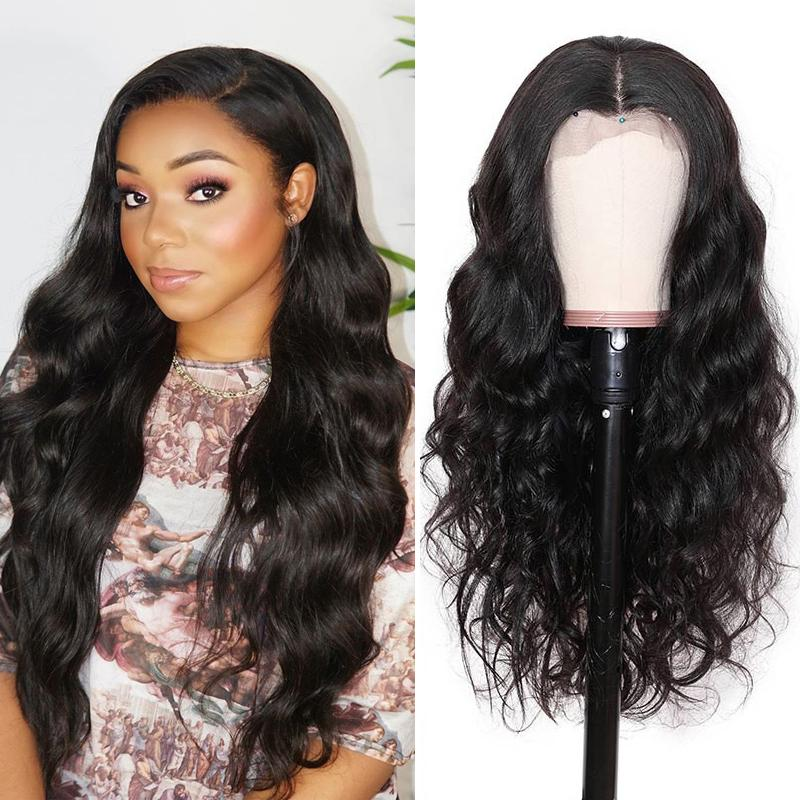 Pre-Plucked Lace Front Wig 13×6 Virgin Hair Body Wave #1B