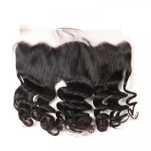 10 – 20 Inch Virgin Hair Loose Wave 13 x 4 Lace Frontal (#1B Natural Black)