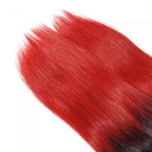 16 – 26 Inch Ombre Hair Human Remy Hair Extensions Straight (#1B/Red)