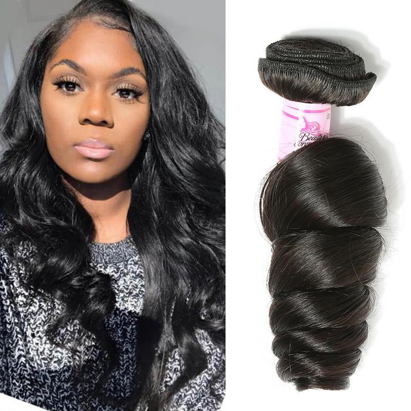 Peruvian Virgin Hair 100% Human Hair Loose Wave (#1B Natural Black)