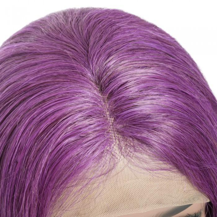 Pre-Plucked Human Remy Hair Lace Front Bob Wig Straight (Purple)