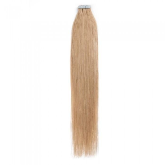 16 – 24 Inch Tape In Remy Hair Extensions Straight (#27 Strawberry Blonde)