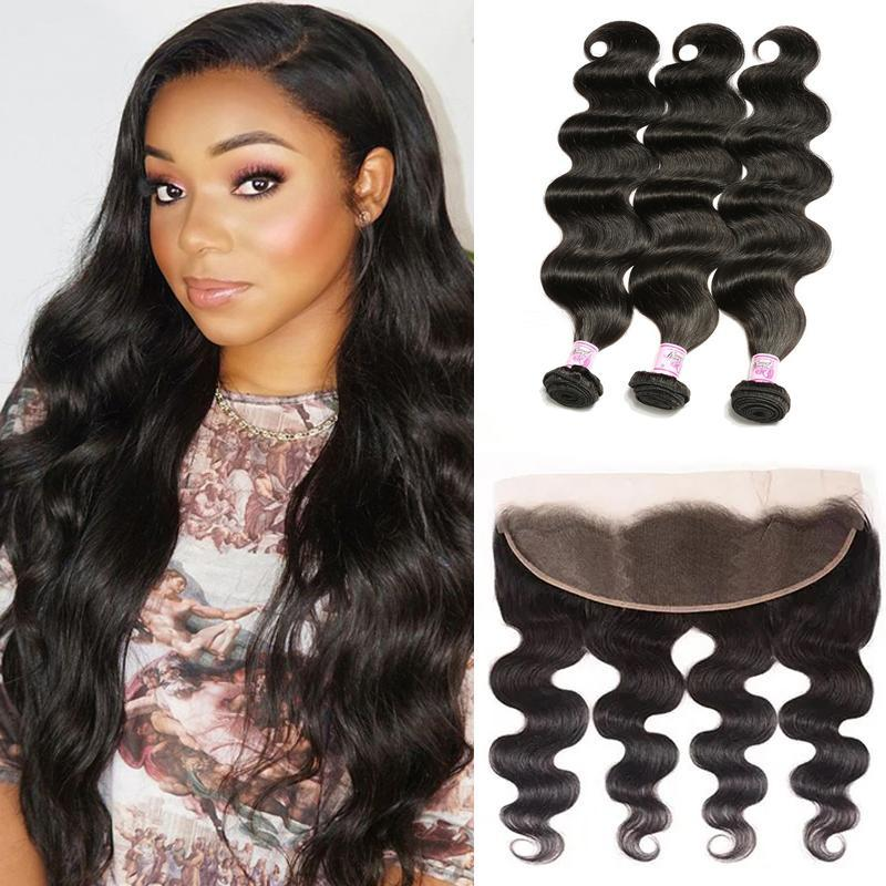 Virgin Hair 3 Bundles with Lace Frontal Body Wave Hair