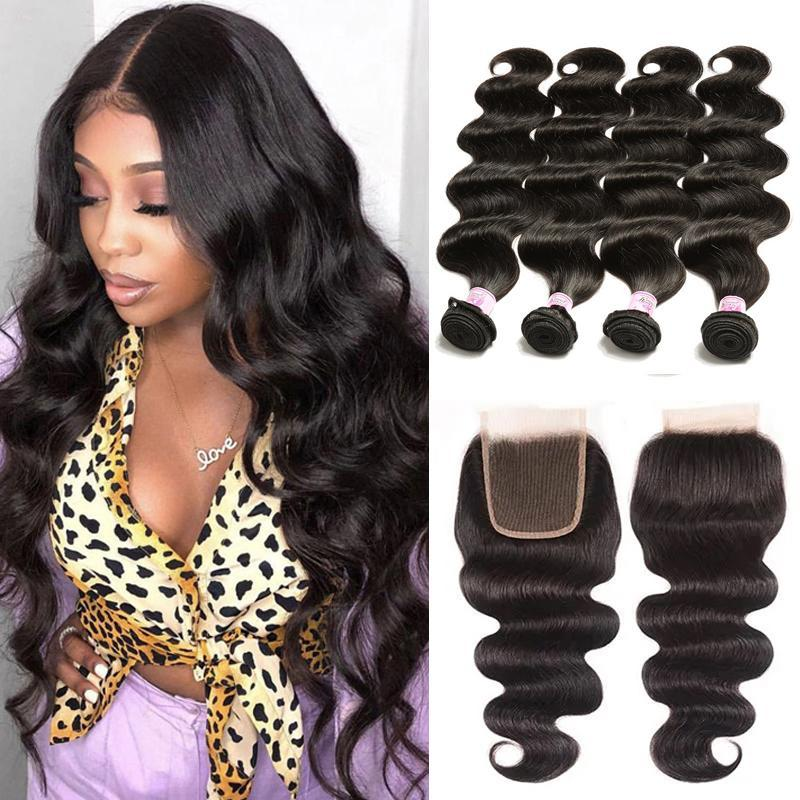 Virgin Hair 4 Bundles with Lace Closure Body Wave Hair