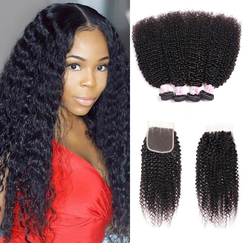 Virgin Hair 4 Bundles with Lace Closure Kinky Curly Hair