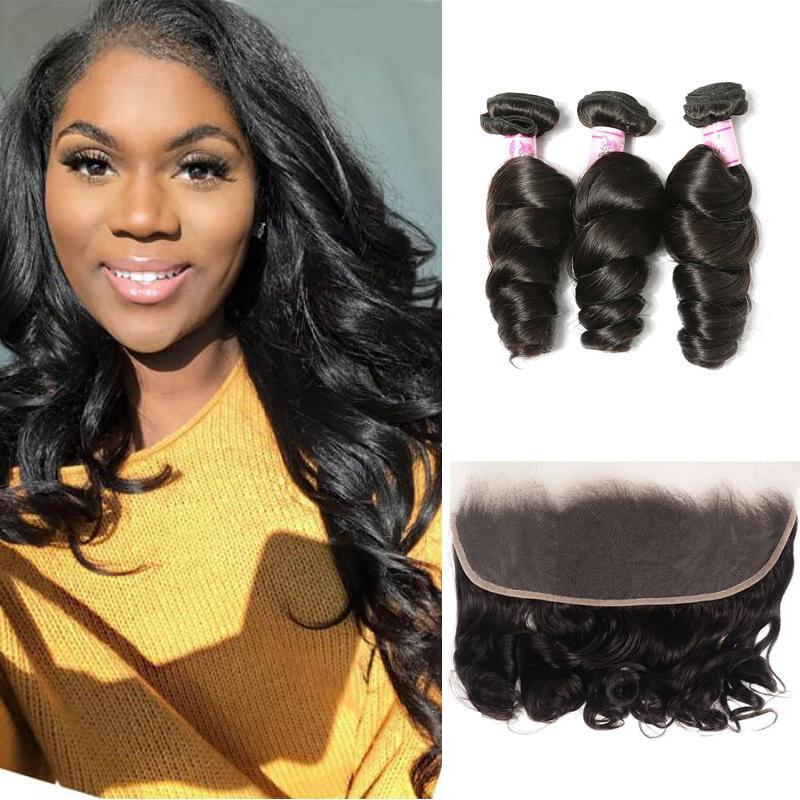 Virgin Hair 3 Bundles with Lace Frontal Loose Wave Hair