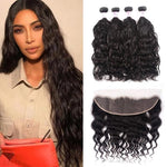 Virgin Hair 4 Bundles with Lace Frontal Natural Wave Hair