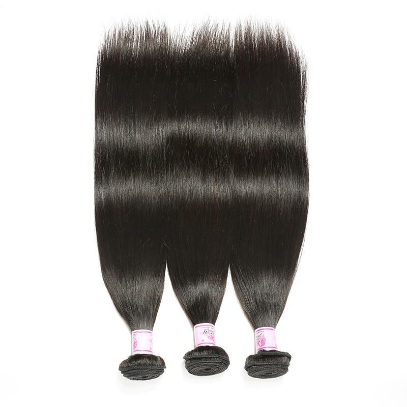 10A Virgin Hair 3 Bundles with 4 x 4 Lace Closure Straight Hair