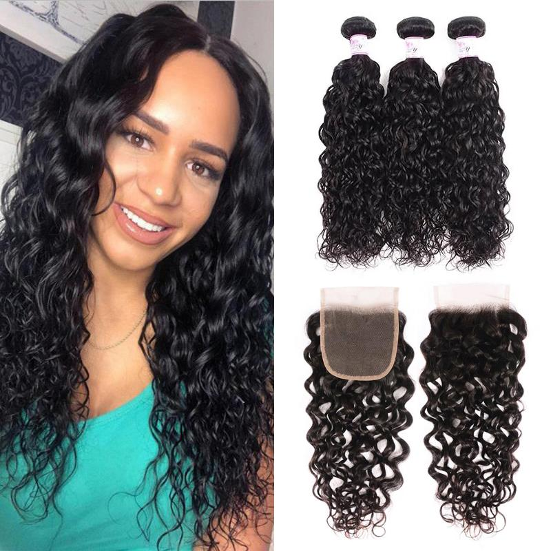 Virgin Hair 3 Bundles with Lace Closure Water Wave Hair