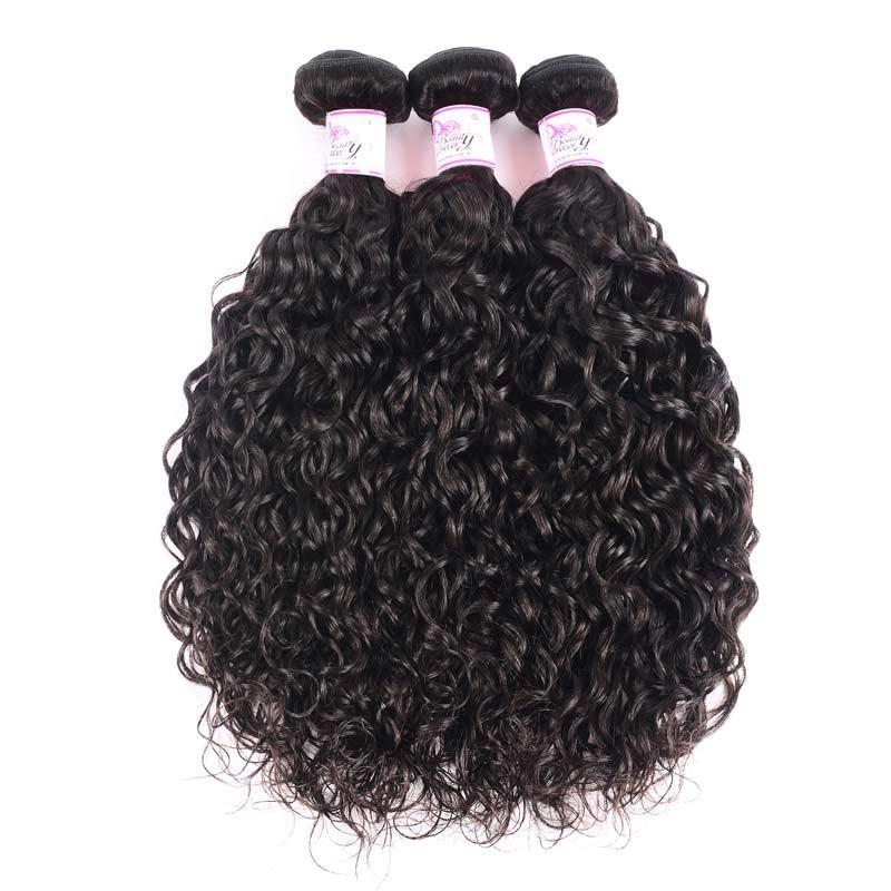 10A Virgin Hair 3 Bundles with 4 x 4 Lace Closure Water Wave Hair