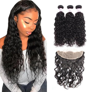 Virgin Hair 3 Bundles with Lace Frontal Water Wave Hair