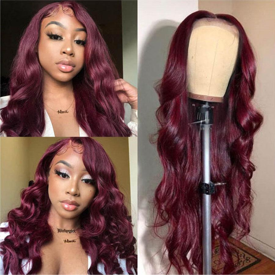 Pre-Plucked Lace Front Wigs Virgin Hair Body Wave Wig #99J Burgundy