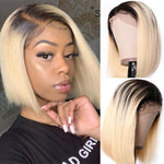 Pre-Plucked Human Hair Lace Front Bob Wig Straight (#1B/613 Blonde)