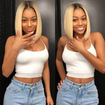 Human Hair Wigs Virgin Hair Lace Front Bob Wig Straight (#1B/613 Blonde)