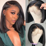 Pre-Plucked Virgin Hair Lace Front Bob Wig Straight #1B