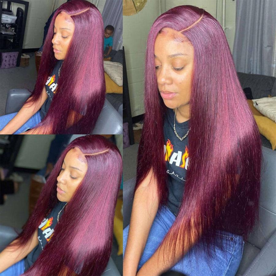 Pre-Plucked Lace Front Wigs Virgin Hair Straight Wig #99J Burgundy