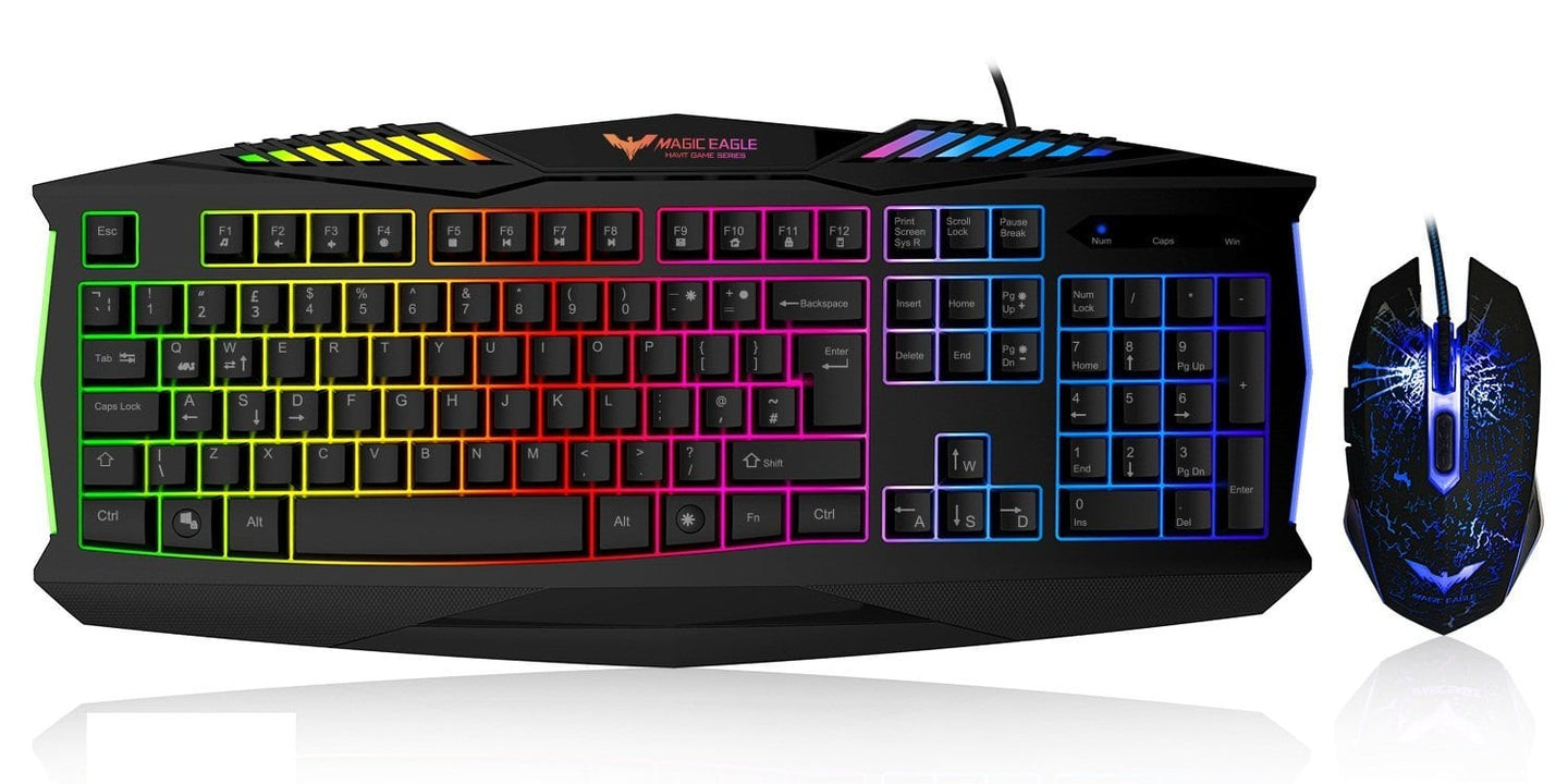 HAVIT HV-KB562CM USB Wired LED Backlit Gaming Keyboard and Mouse Combo Set