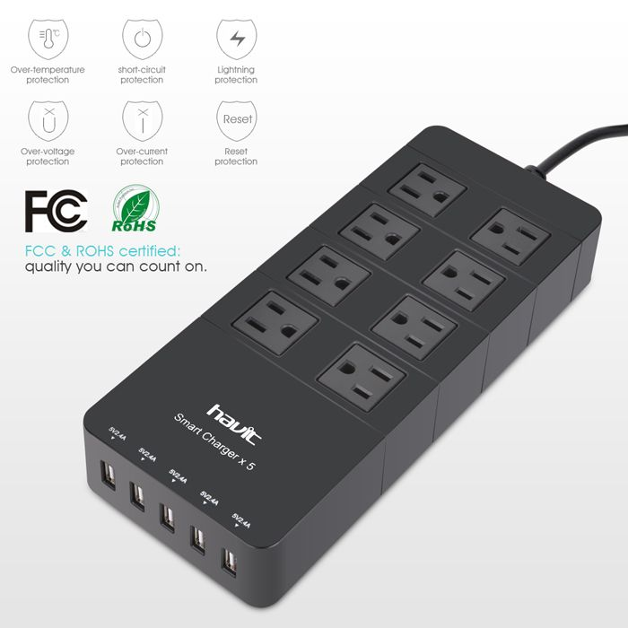 HAVIT HV-8A5U 8 AC Outlets Surge Protector / Power Strip / Wall Charger with 5 Fast Charging USB Charger Charging Ports