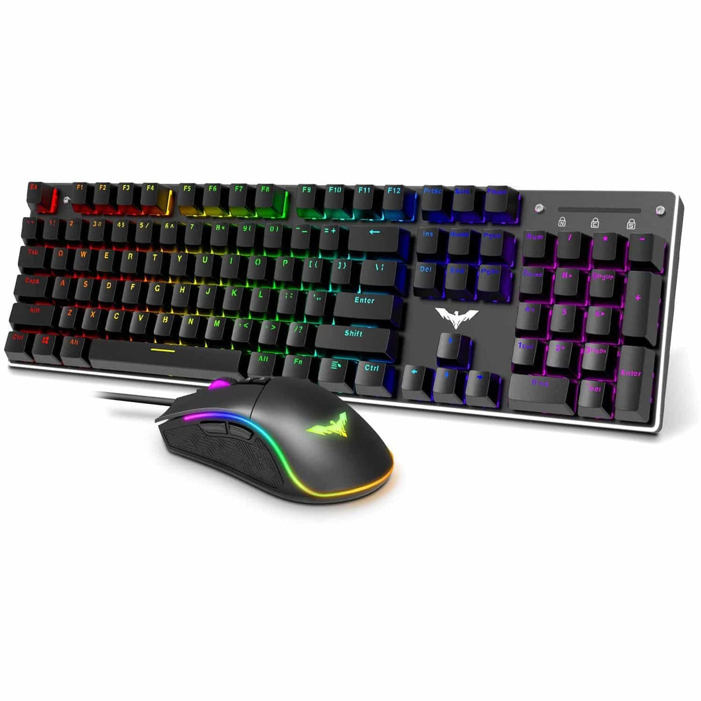 HAVIT KB393L Mechanical Gaming Keyboard and Mouse Combo 104 Keys with Rainbow Backlit