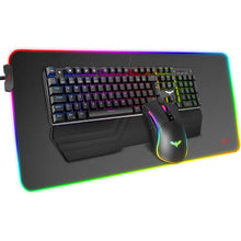 Load image into Gallery viewer, HAVIT KB511L RGB Mechanical Keyboard Mouse & Mouse Pad Combo 104 Keys with Detachable Wrist Rest