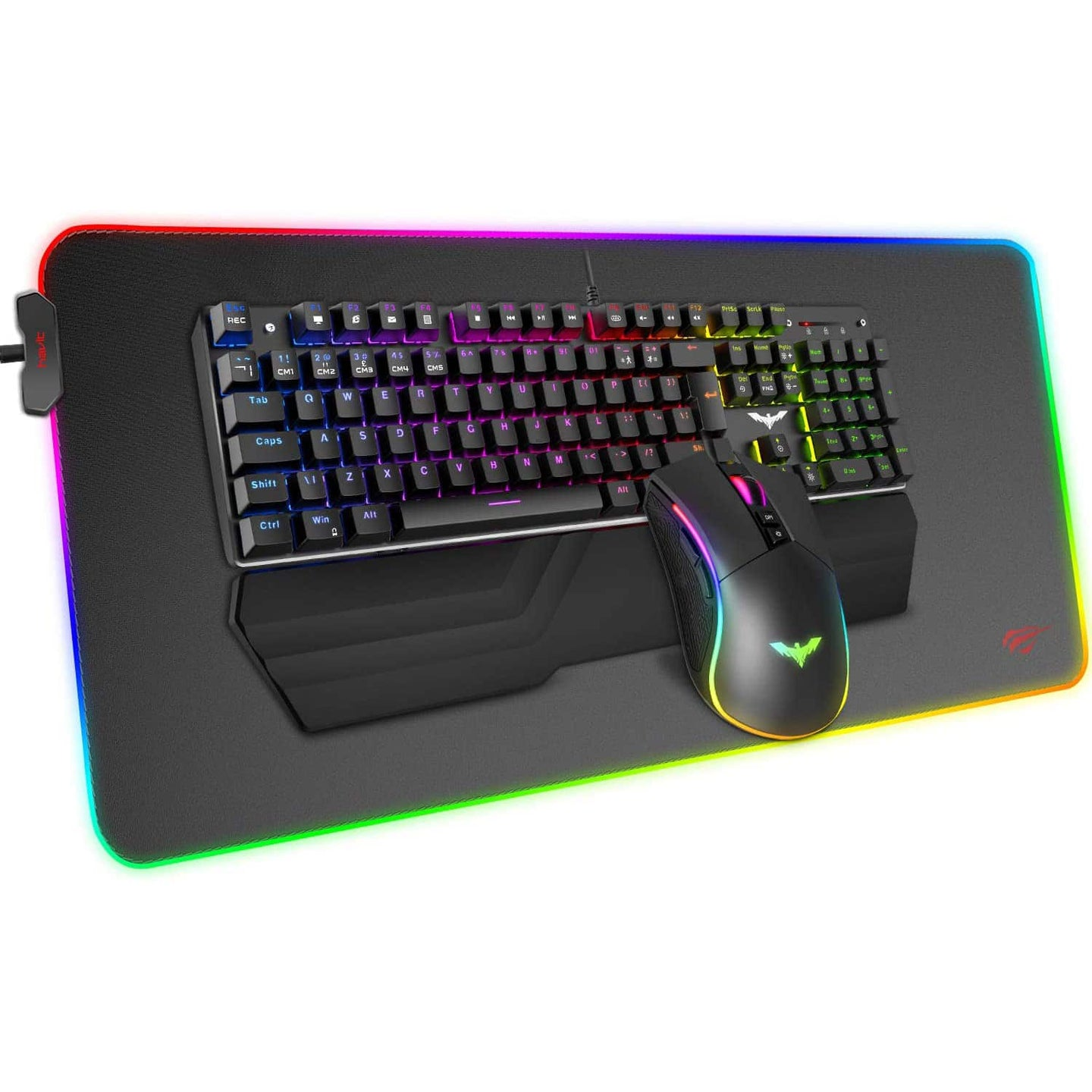 HAVIT KB511L RGB Mechanical Keyboard Mouse & Mouse Pad Combo 104 Keys with Detachable Wrist Rest