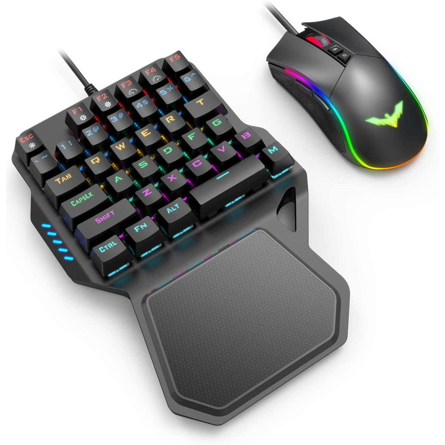 HAVIT RK-B20 One Hand RGB Gaming Keyboard & Programmable Mouse Combo - 36 Keys USB Keypad with Wrist Rest