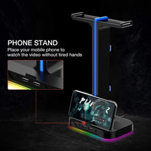 Load image into Gallery viewer, HAVIT TH650 RGB Headset Stand with Dual Hanger & 2 USB Ports