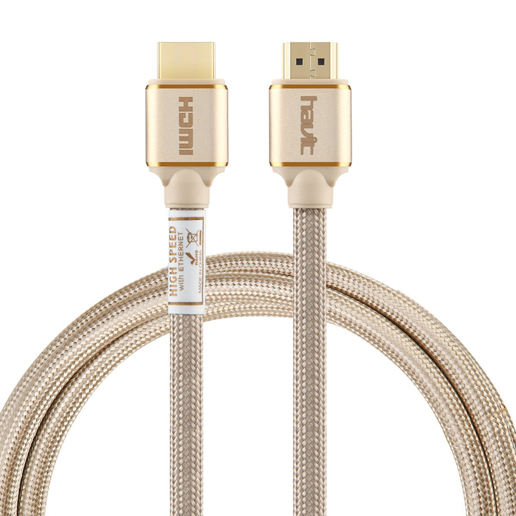HAVIT HV-X90 HDMI 2.0 Cable, 2-Meter, Male to Male, Braided, Gold Plated Plugs
