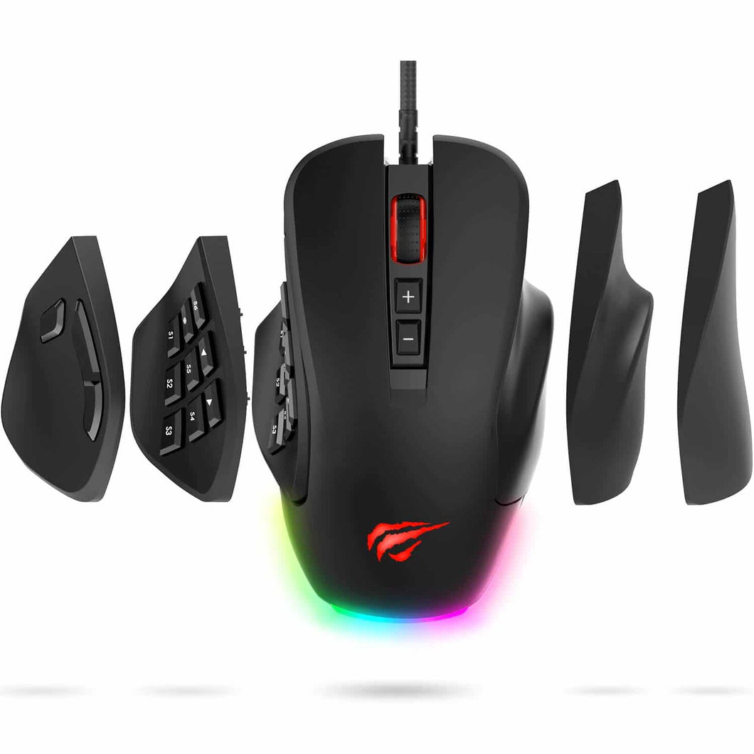 HAVIT MS760 Pro Gaming Mouse with 12000 DPI, Interchangeable Side Plates, Customizable RGB Backligts (Upgraded Version)