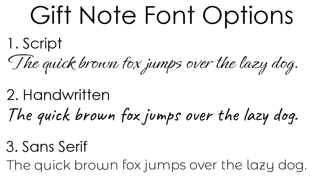 Parcel gift note font options