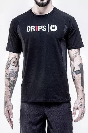 grips cotton blend mesh tshirt black