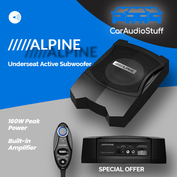 "Alpine 8"" Underseat Active Subwoofer PWE-V80 by Alpine - CarAudioStuff"