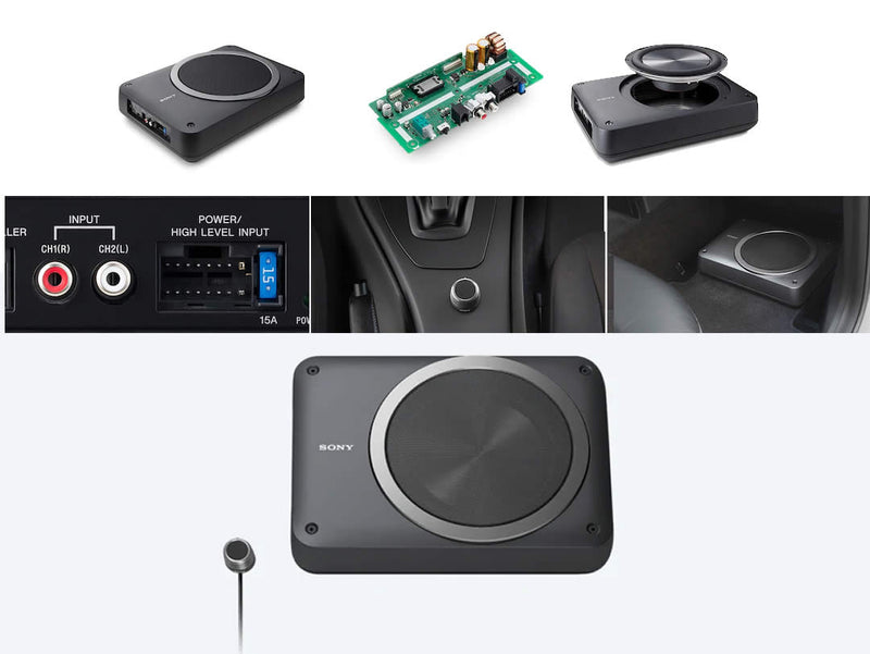 "Sony 8"" Compact Powered Subwoofer Unit with Remote Control XS-AW8 by Sony - CarAudioStuff"