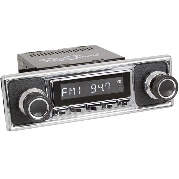 Retrosound Hermosa Chrome Becker Pebble Black Style Bluetooth USB Classic Radio by Retrosound - CarAudioStuff