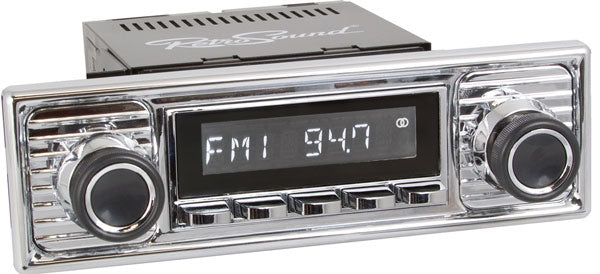 Retrosound Laguna Classic Car Radio Chrome Becker Scalloped Style with AUX by Retrosound - CarAudioStuff